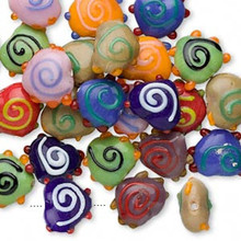100 Grams Fancy Heart Opaque Glass Bumpy Beads ~ Mix ~ 18x15x11mm