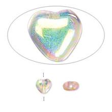"16"" Strand Czech Pressed Glass 6mm Heart Beads ~ Light Rose Aurora Borealis  *"