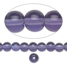 36 inch Strand Glass Round Transparent Violet Purple Beads ~ 6mm