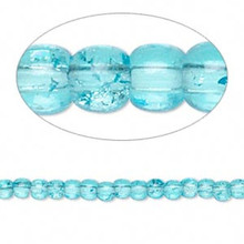 1 Strand Turquoise Blue Crackle Glass 3-4mm Round Beads *