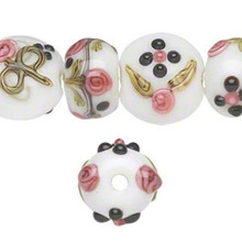 16 Lampwork Glass White Pink Black Bumpy Rondelle Bead Mix