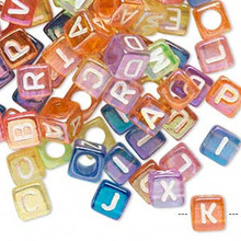 100 Rainbow Acrylic Alphabet Cube Beads ~ 6x6mm