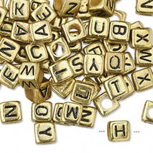 100 Gold Acrylic 4 Sided Alphabet Square Cube Beads ~ 6x6mm