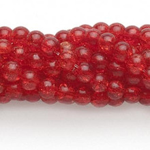 Wholesale 10 Strands 5-6mm Ruby Red Crackle Glass Round Beads *