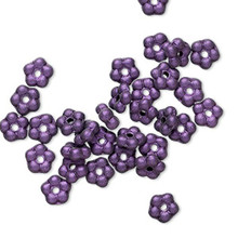 1 Strand Czech Pressed Glass Dark Purple Satin 5mm Flower Spacer Beads *