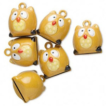 6 Adorable Tan OWL Bell Charms ~  18x17mm