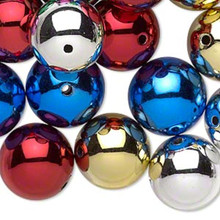 24 Assorted Acrylic Metallic Beads ~ 16mm Silver Red Gold Blue Pink Green Mix