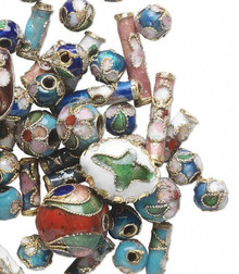 50 Gold & Silver Plated Cloisonne Beads Mix ~ 5-13mm  *