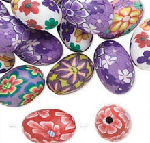 30 Polymer Clay Tube Oval Egg Shape Bead Mix ~ 10x15mm