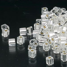 25 Grams Miyuki Silver Lined Clear 3.5-3.7mm Square Glass Seed Beads ~ SB1
