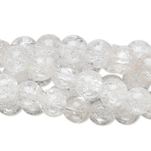 "Wholesale Five 15"" Strands Clear Crackle Glass 7-8mm Round Beads"
