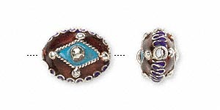 2 Silver Plated Cloisonne Oval Brown & Turquoise Blue Beads ~ 14x12mm  *