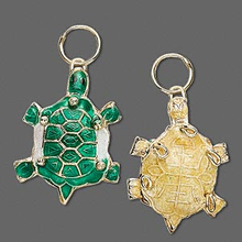 2 Gold Plated Small Green Turtle Cloisonne Charms  *