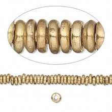 "16"" Strand Solid Brass Heishe Spacer Beads   ~ 3.5-4mm  *"