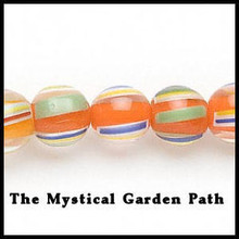 "15"" strand Orange Striped Lampwork Glass Beads 10-11mm"
