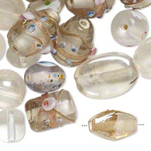 100 grams Fancy Lampwork Glass Crystal White Glass Bead Mix