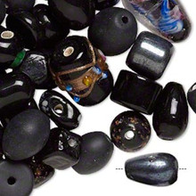 100 grams Fancy Ebony Jet Black Glass Lampwork Bead Mix