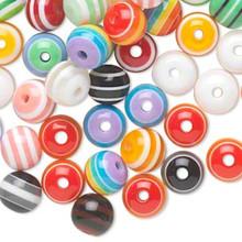 100 Laminated  Acrylic Round Striped Bead Mix ~ 8mm