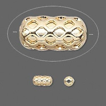 100 Gold Plated Brass Cut Filigree  Weave Capsule Beads ~ 4x8mm