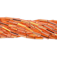 "1 Hank Silver Lined Orange Glass Tube Bugle Beads ~ 6mm ~ 1/4"" Long"