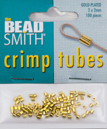 100 Gold Plated 2x2mm Crimp Tubes  ~ Crimping Beads