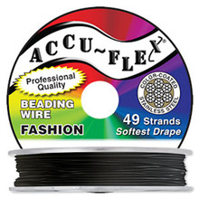 "30 Foot Spool 49 Strand Accu-flex Jet Black 0.019"" Diameter Beading Wire"