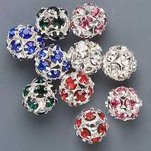 10 Silver Plated Brass & Rhinestone Crystal Bead Mix ~ 10mm *