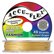 "30 Foot Spool 49 Strand Accu-flex Dijon GOLD 0 .019"" Diameter Beading Wire"