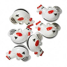 6 Adorable White Chicken Bell Charms ~ 24x21mm