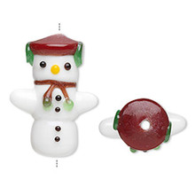2 Lampwork Glass Hug Me Snowman Beads Christmas *
