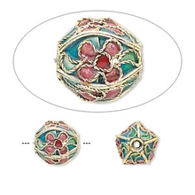 4 Gold Plated Turquoise Cloisonne Round 10mm Beads  *