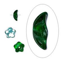 50 Czech Pressed Glass Transparent AB Emerald Green 8x3mm Flower Bead Caps  ~ Fits 6-8mm Beads  *