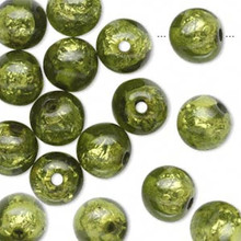 16 Glistening Peridot Green Foil Round Resin Beads ~ 10mm *
