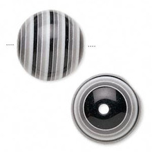 20 Resin Acrylic Black White Gray Striped Round Beads ~ 20mm