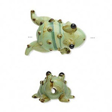 4 Green Toad Frog Lampwork Glass Beads  ~  23x16x11mm