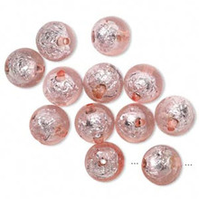 12 Glistening Pink Foil Round Resin Beads ~ 16mm *