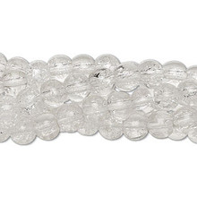 "Five 15"" Strands Crackle Glass  Clear 5-6mm Round  Beads"