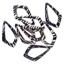 8 Zebra Resin Black & White 52x31mm Kite Drops *
