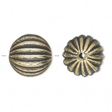 50 Grams Antiqued Gold Metalized Plastic 17mm Ribbed Round Beads