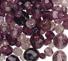 100 Czech Fire Polished Glass Faceted Round Beads ~  Amethyst Purple Mix