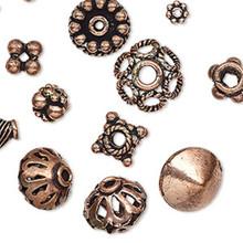 50 Grams Antique 100% Copper Beads & Bead Caps Mix ~ 5x1mm-18x10mm
