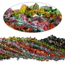 "Wholesale Lot of EIGHT  34"" Strands Fancy Glass Chip Beads ~ 4-10mm  *"