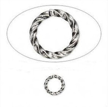 100 Antiqued Silver Plated 8mm Round Fancy Twist Jump Rings ~ 20 Gauge