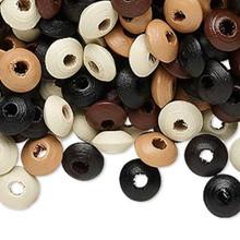 1200 Rondelle Wooden Bead Mix ~ 8x4mm Tan Brown Black & *