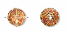 6 Gold Plated Copper Cloisonne Round 12mm Beads