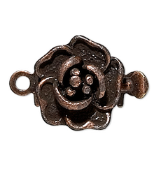 10 Antiqued Copper Brass 9x9mm Rose Flower Box Clasps