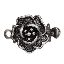 10 Antiqued Silver Plated Brass 9x9mm Rose Flower Box Clasps