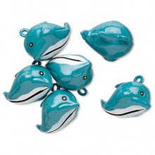 6 Adorable Blue Dolphin Bell Charms ~ 25x18mm