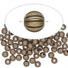 100 Antiqued Gold Plated Brass Corrugated Round Beads ~  4mm