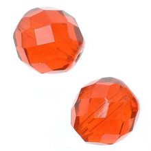 100 Czech Fire Polished Glass Faceted Round Beads ~ 6mm ~ Hyacinth Orange *